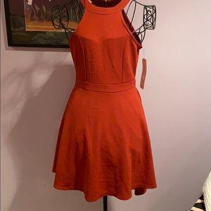 Brand new burnt orange dress. Zips on upper back